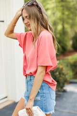Oversized Blouse in Pink Side View