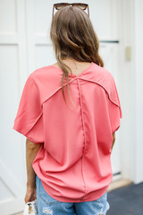 Oversized Blouse in Pink Back View