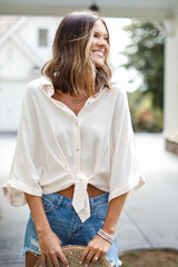 Taupe - Model wearing a Tie-Front Blouse