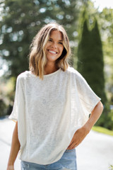 White - Oversized Knit Top