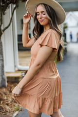 Tiered Dress in Camel Side View