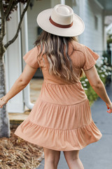 Tiered Dress in Camel Back View