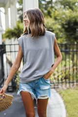 Grey - Corded Muscle Tank