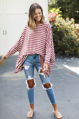 Oversized Striped Top Front View