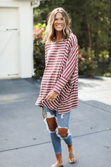 Oversized Striped Top Front View on model