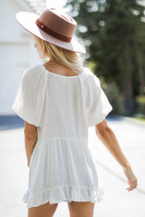 Swiss Dot Babydoll Top in Ivory Back View