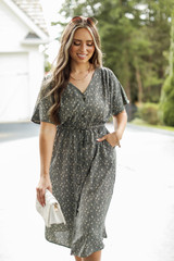 Olive - Model wearing a Spotted Midi Dress