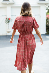 Spotted Midi Dress in Rust Back View