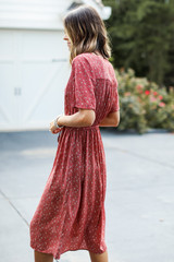 Spotted Midi Dress in Rust Side View
