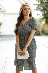 Spotted Midi Dress in Olive Front View