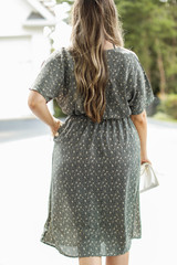 Spotted Midi Dress in Olive Back View
