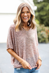 Coral - Striped Knit Top Front View