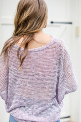 Striped Knit Top in Lavender Back View