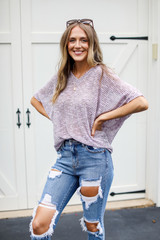 Striped Knit Top in Lavender Front View
