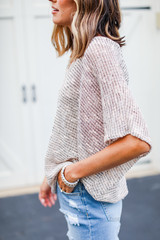 Striped Knit Top in Peach Side View