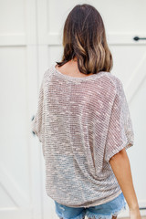 Striped Knit Top in Peach Back View