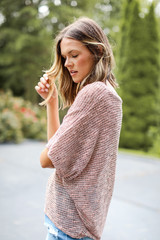 Striped Knit Top in Coral Side View