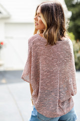 Striped Knit Top in Coral Back View