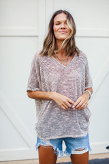 Striped Knit Top in Peach Front View