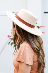 Ivory - Wide Brim Banded Hat from Dress Up