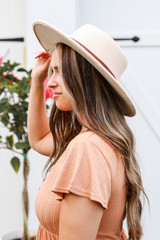 Wide Brim Banded Hat in Ivory Side View