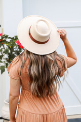 Wide Brim Banded Hat in Ivory Back View