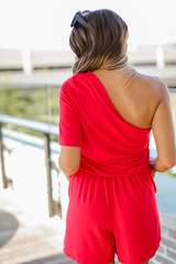 One-Shoulder Romper in Red Back View