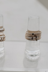 Close Up of a Gold Ring Set