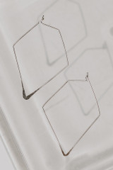 Silver - Close Up of Geometric Earrings