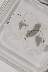 White - Statement Drop Earrings on a white background