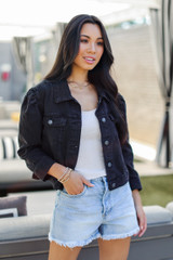 Cropped Denim Jacket Front View on model