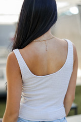 Smocked Cropped Tank in Tan Back View