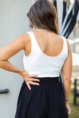 Smocked Cropped Tank in White Back View