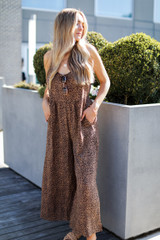 Leopard Jumpsuit in Tan Front View on model