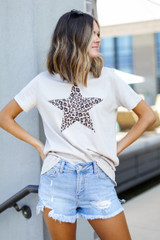 Leopard Star Graphic Tee Front View