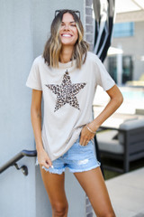 Model wearing a Leopard Star Graphic Tee