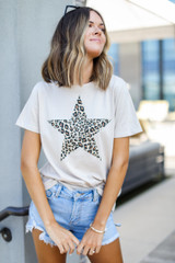 Dress Up model wearing a Leopard Star Graphic Tee