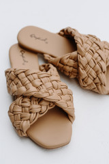 Close Up of Braided Slide Sandals in Tan