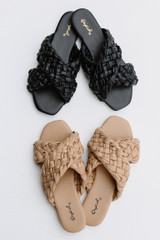 Flat Lay of both colors of Braided Slide Sandals