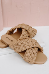 Flat Lay of Braided Slide Sandals in Tan