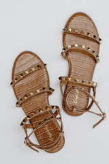 Camel - Flat Lay of Studded Sandals