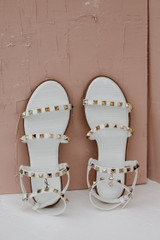Studded Sandals in White