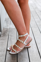 Studded Sandals in White Side View
