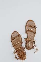 Flat Lay of Studded Sandals in Camel