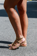 Studded Sandals in Tan Side View