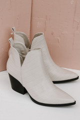 Crocodile Pointed Toe Booties Side View