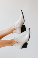 White - Crocodile Pointed Toe Booties