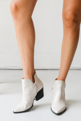 Crocodile Pointed Toe Booties Front View on model