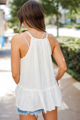 Ruffle Tank in Ivory Back View