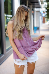 Ruffle Tank in Mauve Front View
